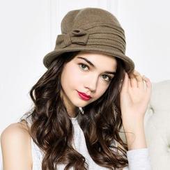 BADA - 蝴蝶结褶皱毛呢毡帽