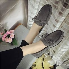 Hipsole - Faux-Suede Bow-Accent Loafers