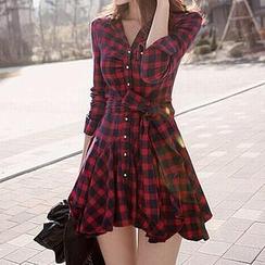 Fashion Street - Plaid A-Line Shirtdress