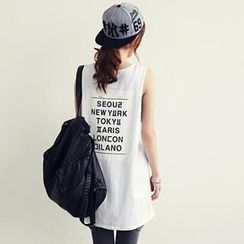 NANING9 - Sleeveless Lettering Print Top