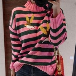 LIPHOP - Bird-Embroidered Stripe Knit Top
