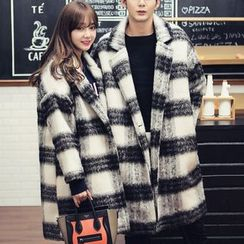 Bay Go Mall - Couple Matching Plaid Single Button Coat