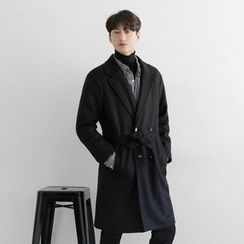 Seoul Homme - Strap-Waisted Double-Breasted Coat