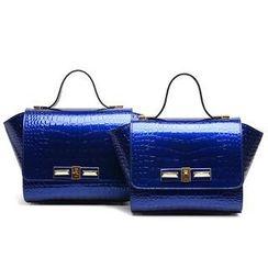 LineShow - Patent Croc-Grain Handbag