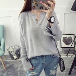 Qimi - Plain Split Neck Sweater