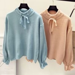 DIYI - Plain Tie Mock-Neck Bell-Sleeve Sweater