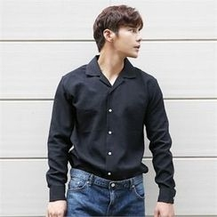 BYMONO - Notched-Collar Contrast-Button Shirt