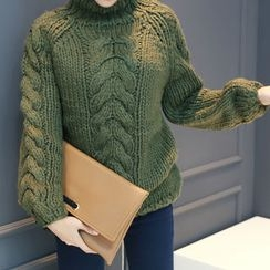 DANI LOVE - Mock-Neck Cable-Knit Sweater