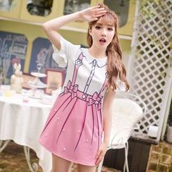 Candy Rain - Faux Pearl Printed Short Sleeve Dress