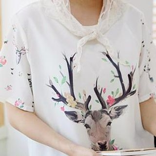 Sechuna - Short-Sleeve Deer Print T-Shirt