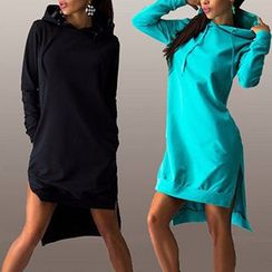 Eloqueen - Long-Sleeve Slit-Hem Hooded Dress
