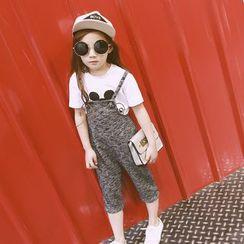 柠檬嘟嘟 - 小童混色七分背带裤
