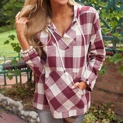 Eloqueen - Long-Sleeve Hooded Check Top