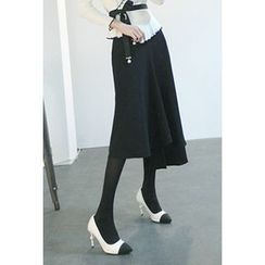 ATTYSTORY - Asymmetric-Hem Ruffled Long Skirt