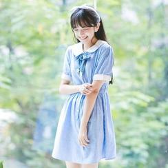 Moricode - Short-Sleeve Striped Tie Waist Dress