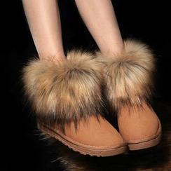 Shoeland - 仿毛边踝跟雪靴