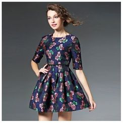 Elabo - Elbow-Sleeve Knit Panel Floral Dress