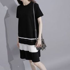 Sonne - Pleated-Hem A-Line T-Shirt Dress