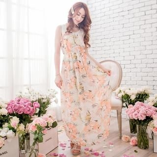 Tokyo Fashion - Frill-Trim Floral Sleeveless Maxi Dress