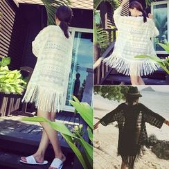 Honey Diary - Fringed Lace Kimono Jacket