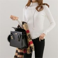 PIPPIN - Scallop-Edge Rib-Knit Top