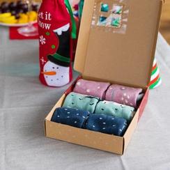 Cutie Bazaar - Set of 3 Pairs : Christmas Print Socks