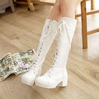 Pretty in Boots - Block Heel Lace-up Long Boots
