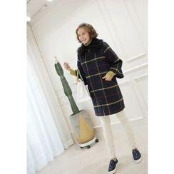 Lemite - Faux-Fur Trim Wool Blend Check Coat