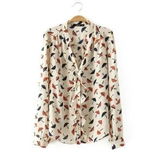 LULUS - Umbrella-Print Ruffled Blouse