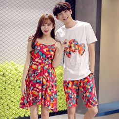 We Belong - Couple Matching Printed Spaghetti Strap Dress / Short Sleeve T-Shirt + Shorts