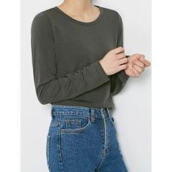 FROMBEGINNING - Crewneck Fleece-Lined T-Shirt