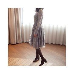 MASoeur - Sheer-Yoke Laced A-Line Dress
