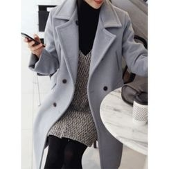 hellopeco - Double-Breasted Wool Blend Coat