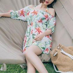 Sweet Splash - 套裝: 碎花比基尼泳裝 + 外罩連衣裙