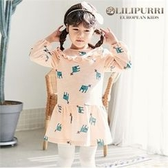 LILIPURRI - Girls Frill-Trim Cat Pattern Dress