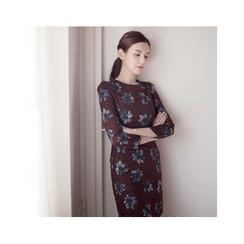 MASoeur - 3/4-Sleeve Floral Print Sheath Dress