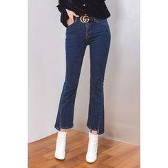 migunstyle - Asymmetric-Hem Boot-Cut Jeans
