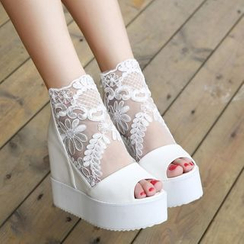 YOUIN - Lace Panel Wedge Sandals
