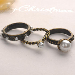 Fit-to-Kill - Set of 3: Pearl Ring - Copper