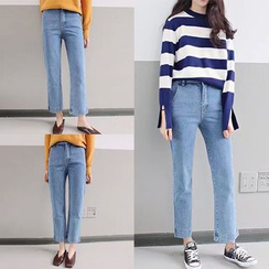 Jeans Kingdom - Washed Cropped Straight Leg Jeans