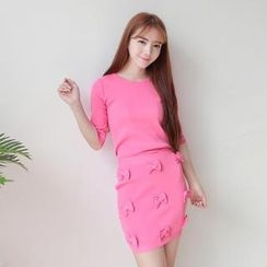 LULUS - Set: Elbow-Sleeve Knit Top + Bow-Accent Skirt