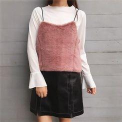 Anlay - 套装: 纯色喇叭袖T恤+毛绒吊带上衣
