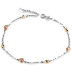 MaBelle - 14K Italian Tri-Color Yellow, Rose and White Gold Diamond-Cut Beads Station Anklet (23cm), Women Girl Jewelry in Gift Box