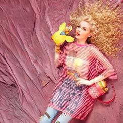 妖精的口袋 - 五分袖條紋印花上衣