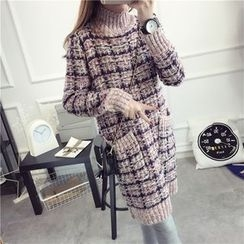 Pecora - Plaid Chunky Sweater Dress