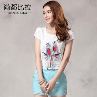 Sentubila - Lace Back Bird Print T-Shirt