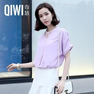 QIWI - Short-Sleeve Gathered-Waist Chiffon Blouse