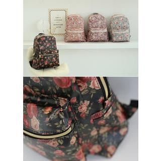 Bongjashop - Zip-Detail Floral Print Backpack
