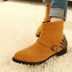 Mancienne - Studded Buckled Short Boots
