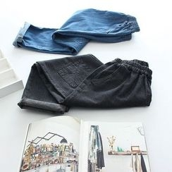 Vateddy - Knee Patch Washed Jeans